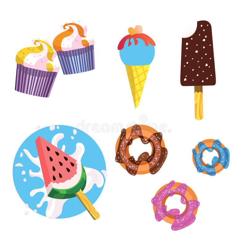 Isolated ice creams and desserts icons.  royalty free illustration