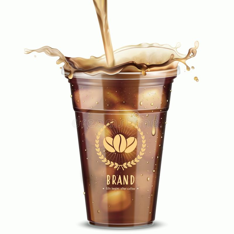 Isolated iced coffee. In 3d illustration on white background vector illustration