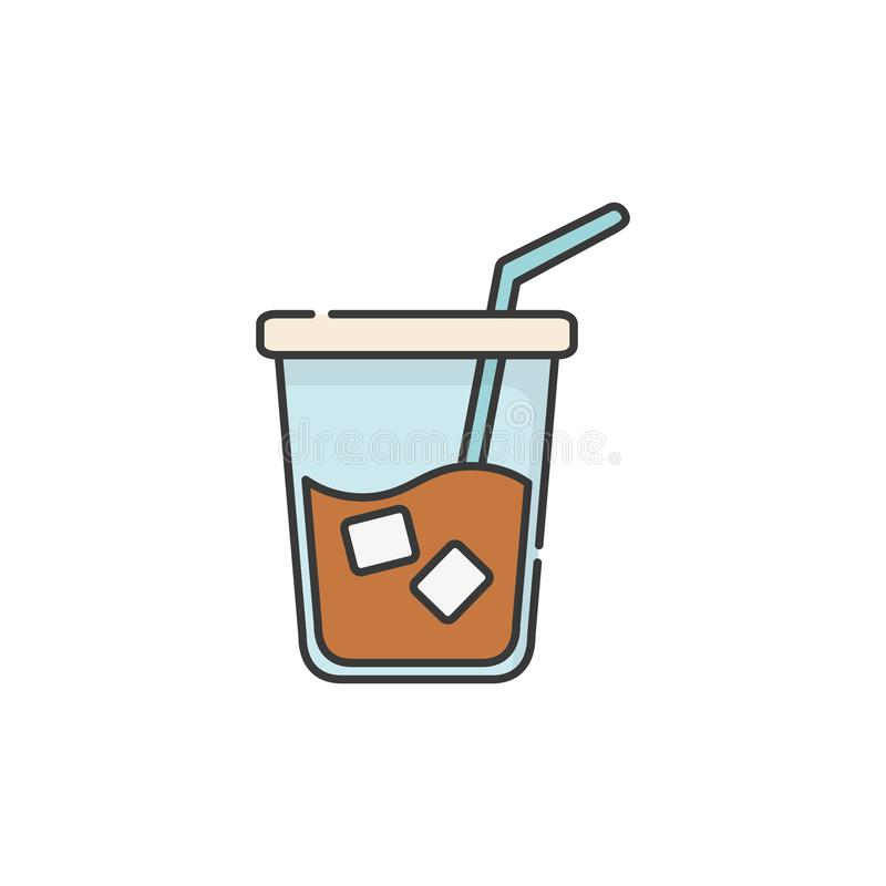 Isolated iced coffee glass icon fill design vector illustration