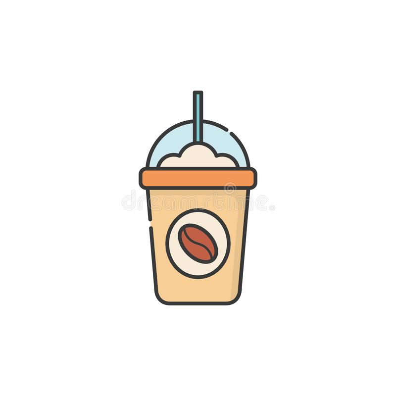 Isolated iced coffee mug icon fill design stock illustration