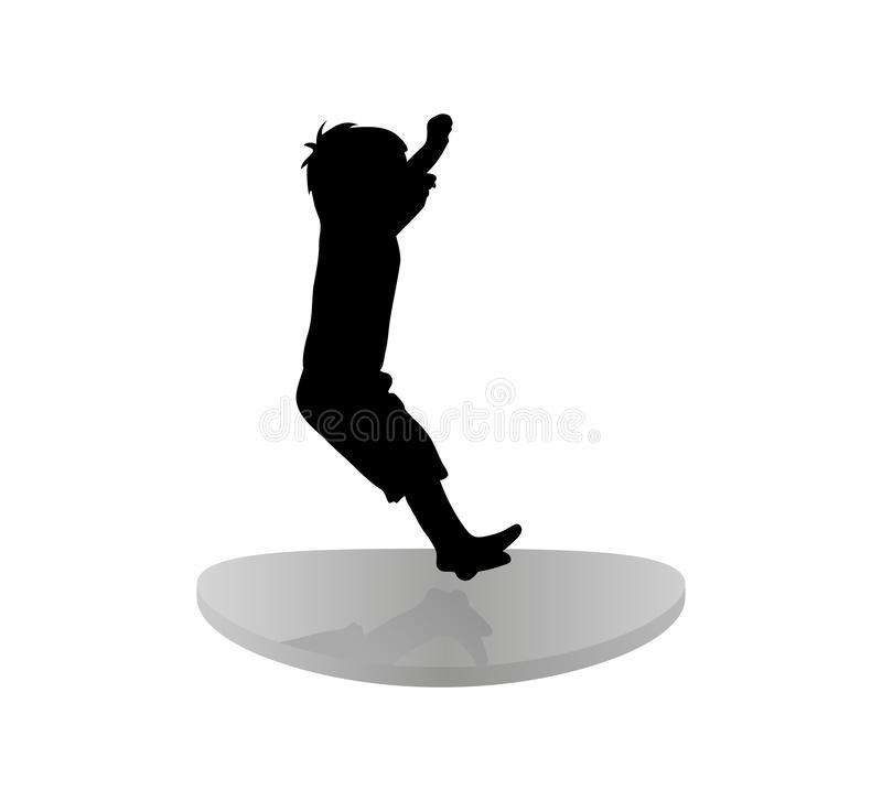 Isolated icon of black silhouette of jumping child on trampoline. white background. Flat design. Elements for design, children s store, party, lunopark. Vector stock illustration