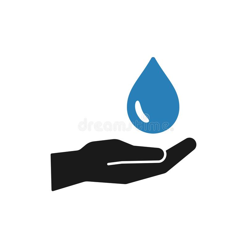 Isolated icon of blue water drop in black hand on white background. Silhouette of aqua drop and hand. Symbol of care, charity. royalty free illustration