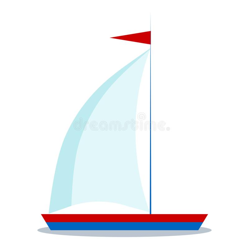 Isolated icon of cartoon blue and red sailboat with one sail on white background vector illustration