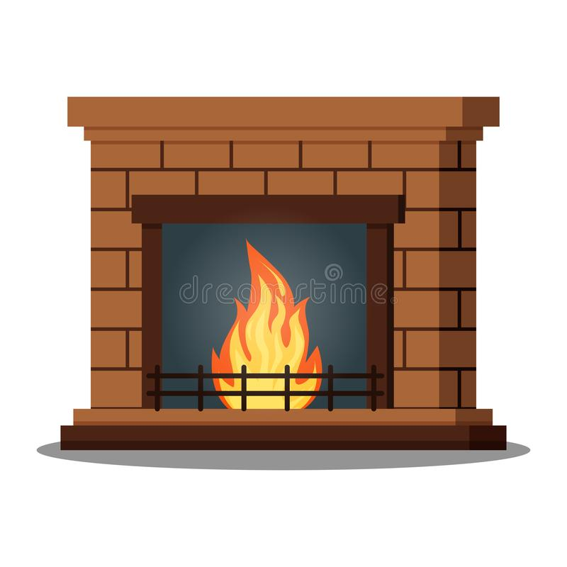Isolated icon of fireburning fireplace closeup on white background stock illustration