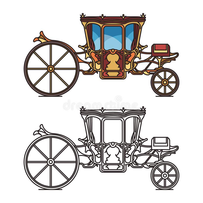 Isolated icons for fairytale carriage or chariot vector illustration