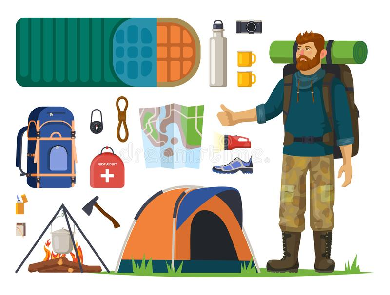 Isolated icons for tourism, journey. Man, backpack vector illustration