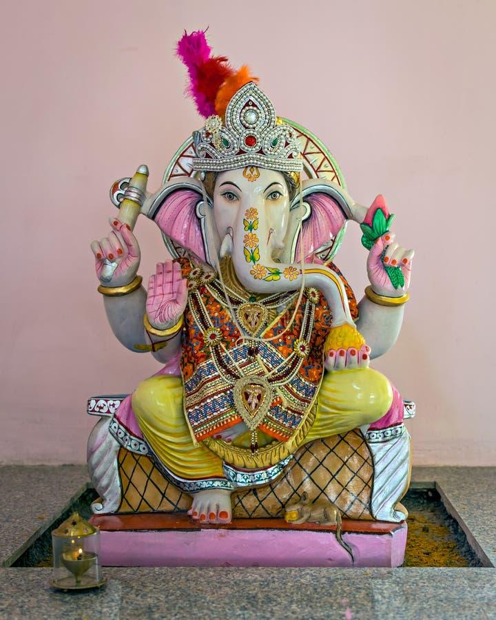 Isolated idol of Hindu God Ganesha in a temple at Yavatmal, Maharashtra, India. Nicely decorated Idol of Hindu God Ganesha in a temple at Yavatmal, Maharashtra royalty free stock photo