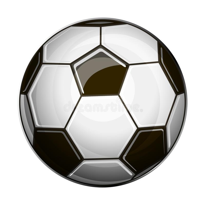 Isolated illustration of black and white soccer ball. On white background