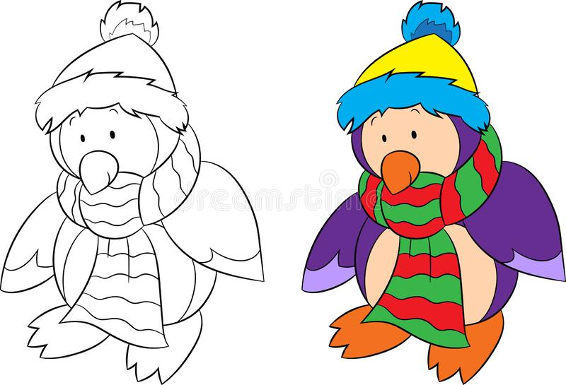 Before and after isolated illustration of a penguin, black and white and color, for children`s coloring book or Christmas card vector illustration
