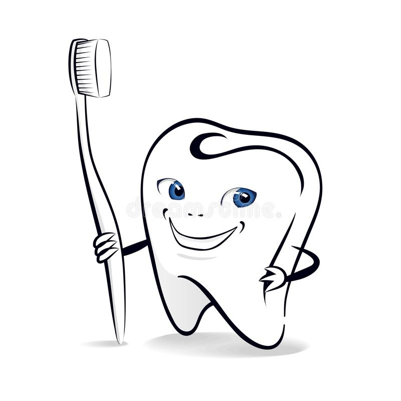 Isolated illustration of smiling tooth with toothbrush royalty free illustration