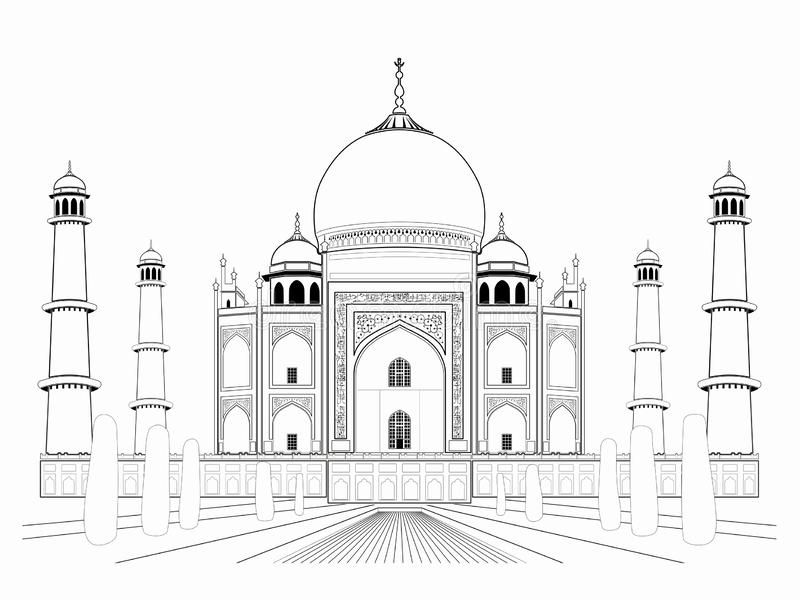 Illustration of an taj mahal , vector draw. Isolated illustration of an taj mahal , black and white drawing, white background vector illustration