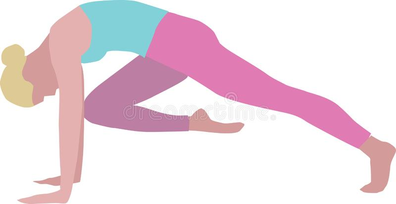 Isolated illustration of woman practicing yoga royalty free stock photography