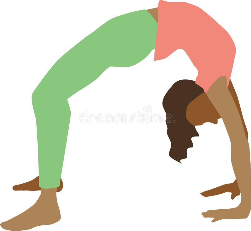 Isolated illustration of woman practicing yoga stock photos