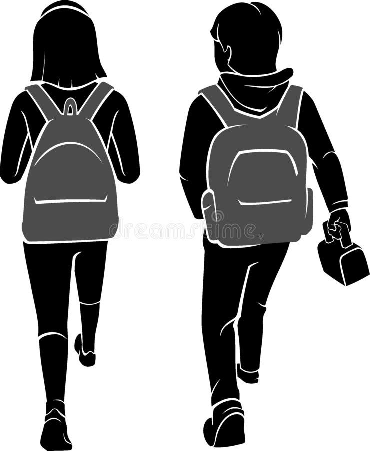 Young Student Walking, Back View. Isolated  illustration of young students walking with backpacks in silhouette form stock illustration