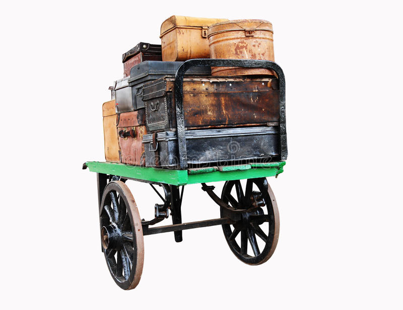 Download Isolated Image Of Vintage Luggage On A Trolley Stock Photography - Image: 20757082