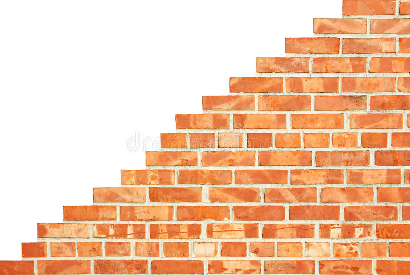Isolated increasing brick wall. Stepwise increasing brick wall, isolated on white background royalty free stock photos