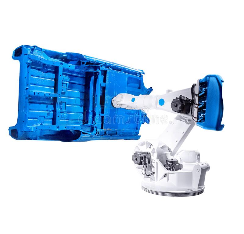 Isolated industrial robotic automatic arm. Works with car steel frame, the concept of modern technology in the factory royalty free stock image