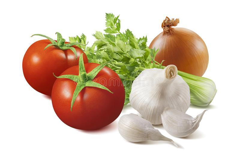Isolated ingredients for homemade tomato sauce royalty free stock photography