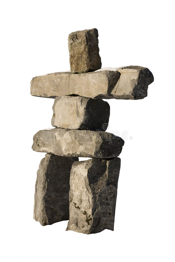 Isolated Inukshuk. An isolated Inuksuk from Whistler, BC. Host resort of the 2010 Winter Olympic Gmaes royalty free stock image