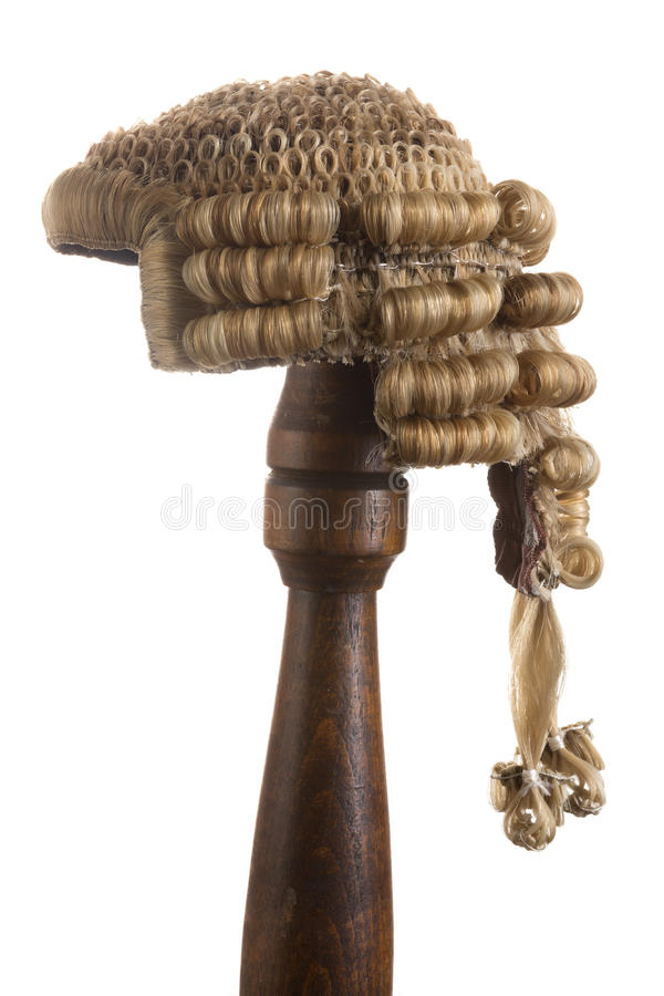 Isolated judge's wig royalty free stock images