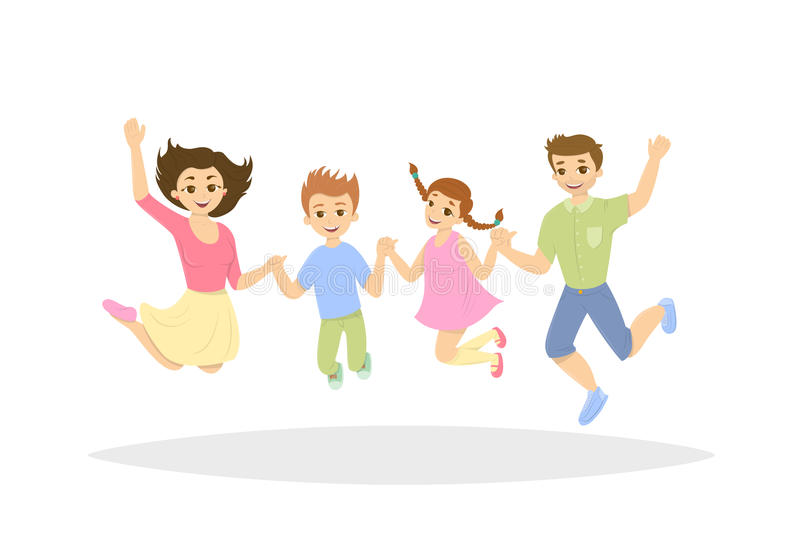 Isolated jumping family. stock illustration
