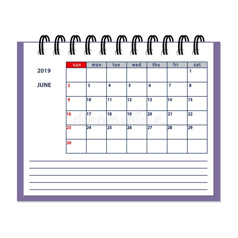 Isolated June page 2019 planner calendar. Isolated page June year 2019 of business planner calendar on the white. Flat business planning concept design with royalty free illustration