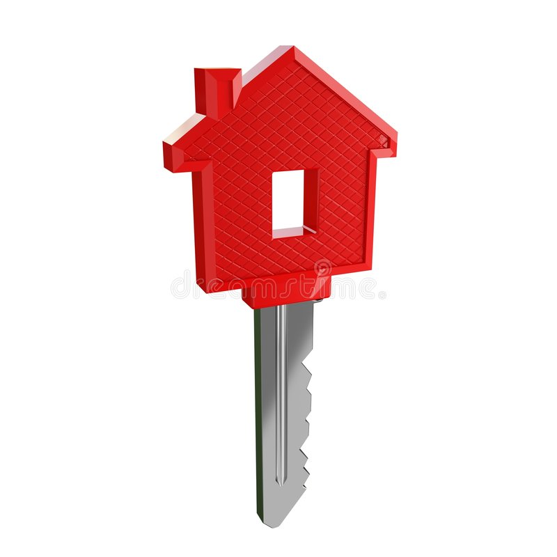 Isolated key of dream house. Illustration 3d of dream house
