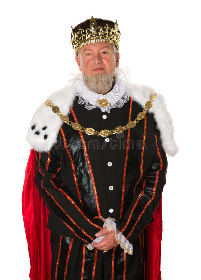 Isolated king. Isolated medieval king standing for an official portrait stock photo