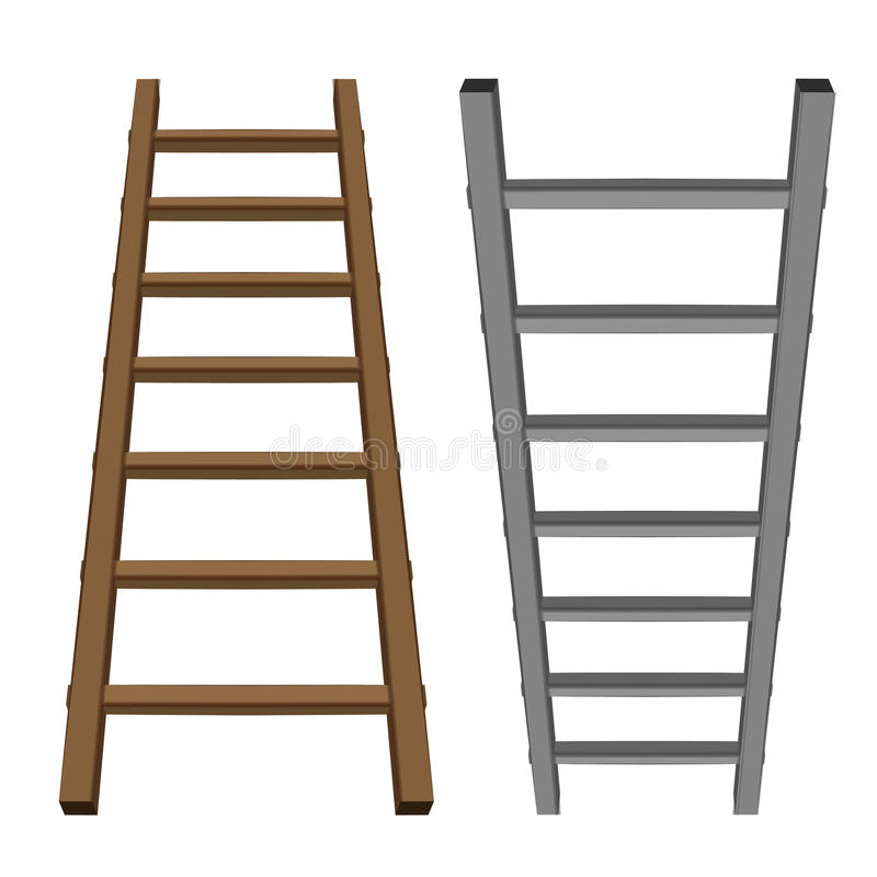 Free Isolated Ladder Object Tool Wooden And Metallic One Royalty Free Stock Photography - 43854417