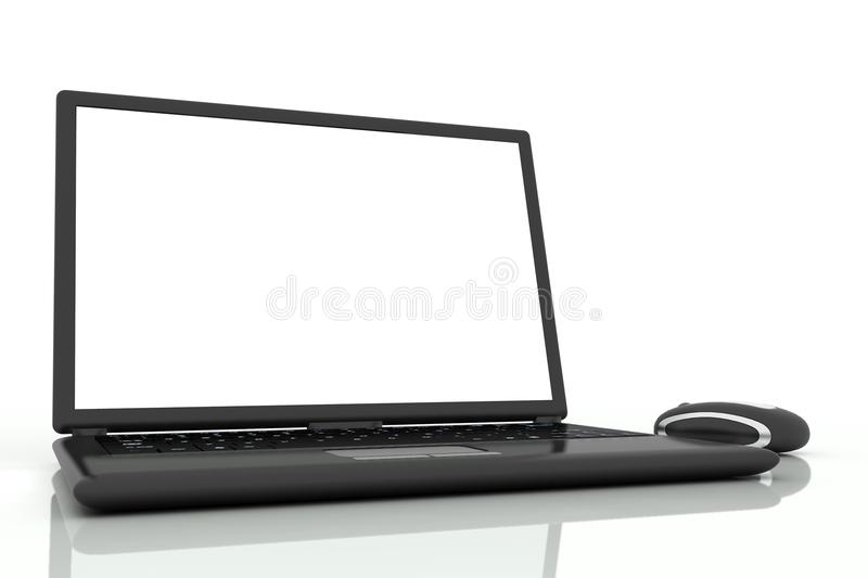 Isolated laptop with mouse. Black laptop and mouse isolated on white background royalty free illustration