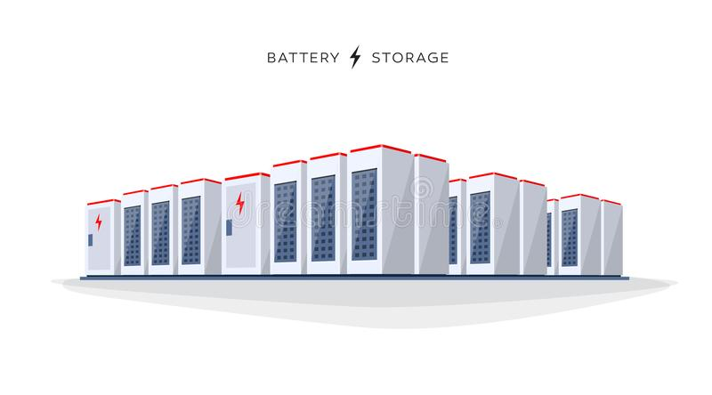 Isolated large battery cloud storage system vector illustration