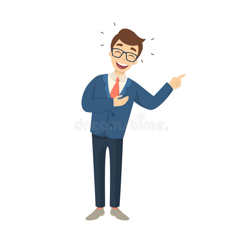Isolated laughing businessman. stock illustration