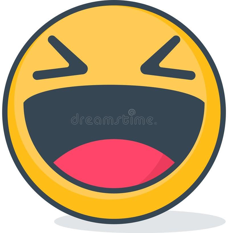 Isolated laughing emoticon. Isolated emoticon. Isolated laughing emoticon. Isolated emoticon on white background stock illustration
