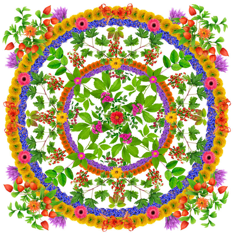 Isolated Leaves Happiness Mandala Stock Image