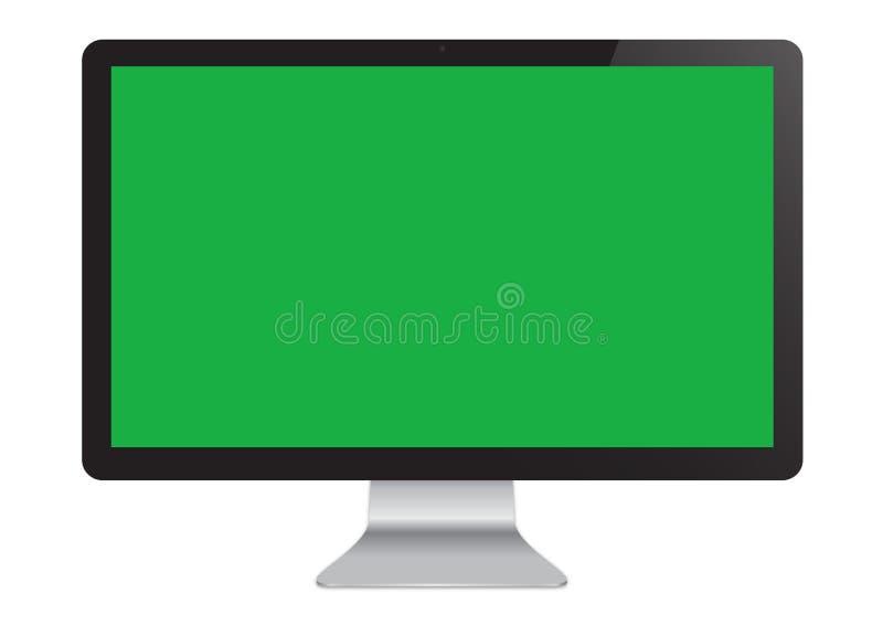 Isolated LED green screen Cinema Display computer monitor mockup. Isolated LED Cinema Display computer monitor mockup with green screen royalty free illustration