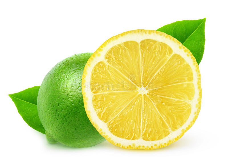 Isolated lemon and lime. Isolated citruses. Whole lime and piece of lemon fruit isolated on white background with clipping path stock photos