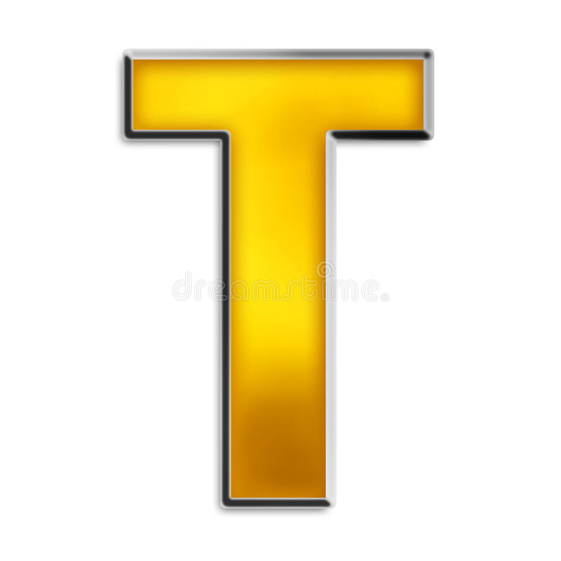 Lettre T: Isolated Letter T In Shiny Gold Stock Illustration