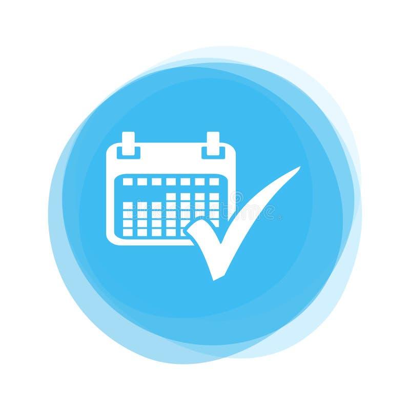 Light blue Button: Calendar and Tick stock illustration