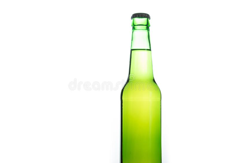 Isolated light green beer bottle stock photos