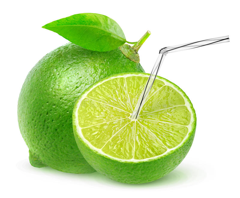 Isolated lime juice. One and a half lime fruit with straw in it, natural fresh juice concept isolated on white background with clipping path stock photography