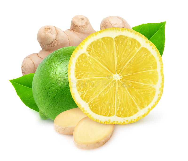 Isolated lime, lemon and ginger. Isolated citrus fruits. Lime, lemon and ginger isolated on white background with clipping path royalty free stock photography