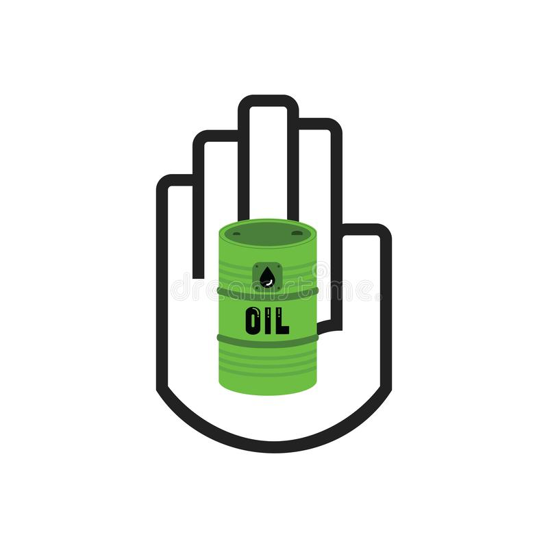 Isolated line black hand symbol holding green oil barrel sign icon on white stock illustration