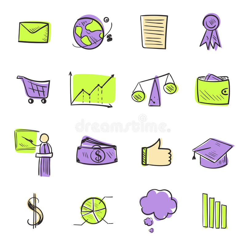Isolated line web icons set. Hand drawn vector icons for business and web stock illustration