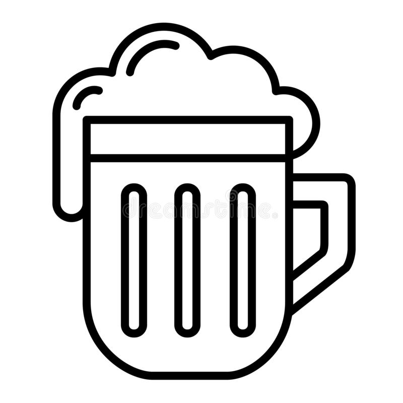 Free Isolated Linear Black Outline Beer Icon Simple With Foam Stock Image - 134539431