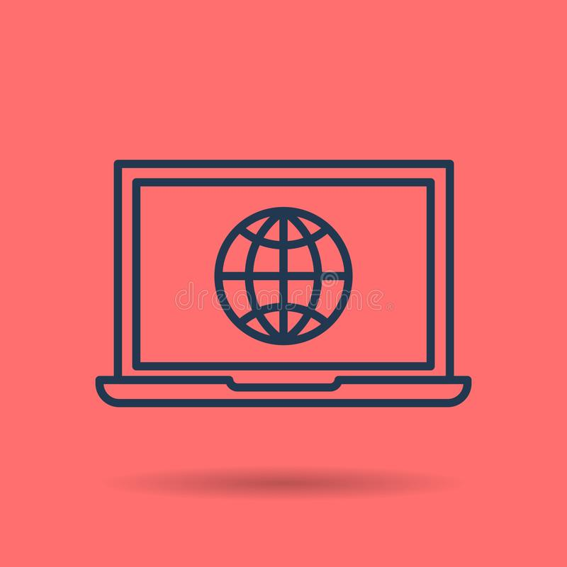 Isolated linear icon - internet using on laptop stock illustration