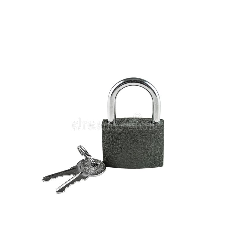 Isolated locked textural brown padlock with a bunch of three keys on a white background. Top view royalty free stock photography