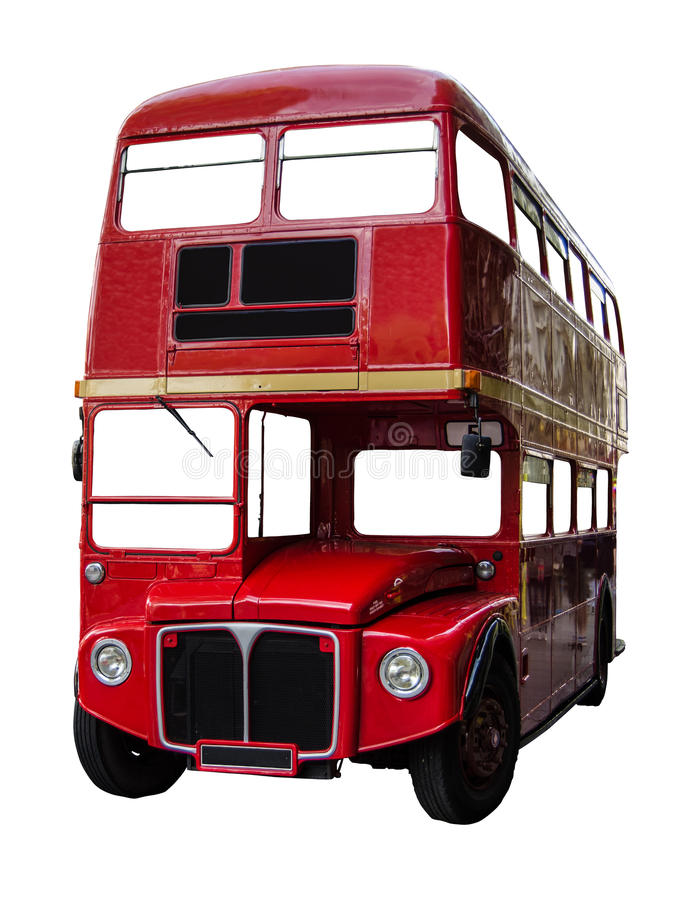 Isolated London Bus. Isolated Vintage Red London Routemaster Double Decker Bus (With Clipping Path royalty free stock photos