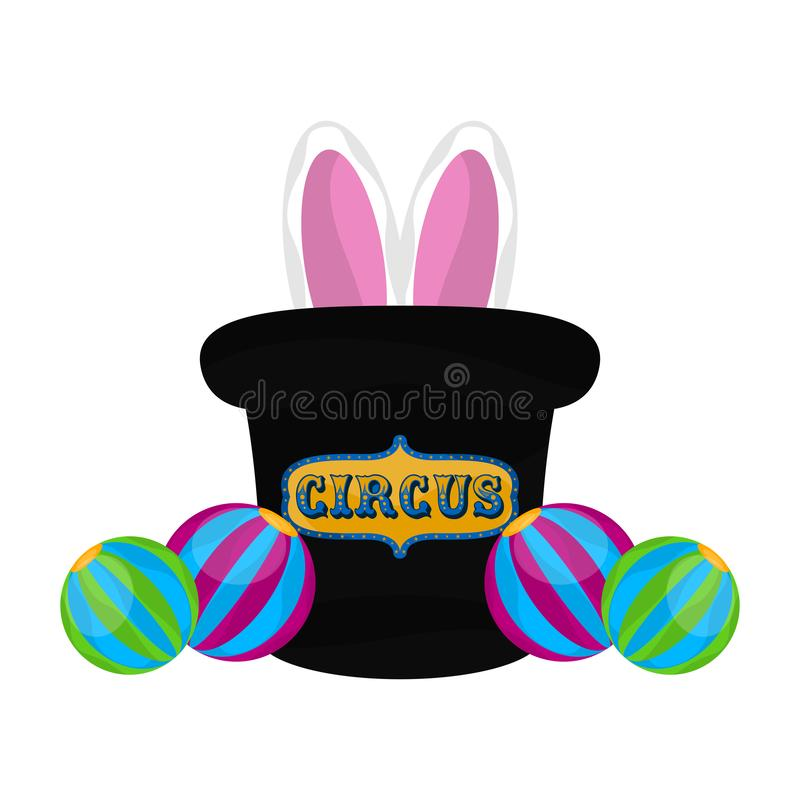 Isolated magician hat with rabbit ears. Vector royalty free illustration