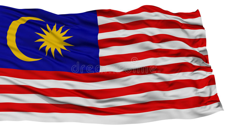Isolated Malaysia Flag Waving On White Background High Resolution