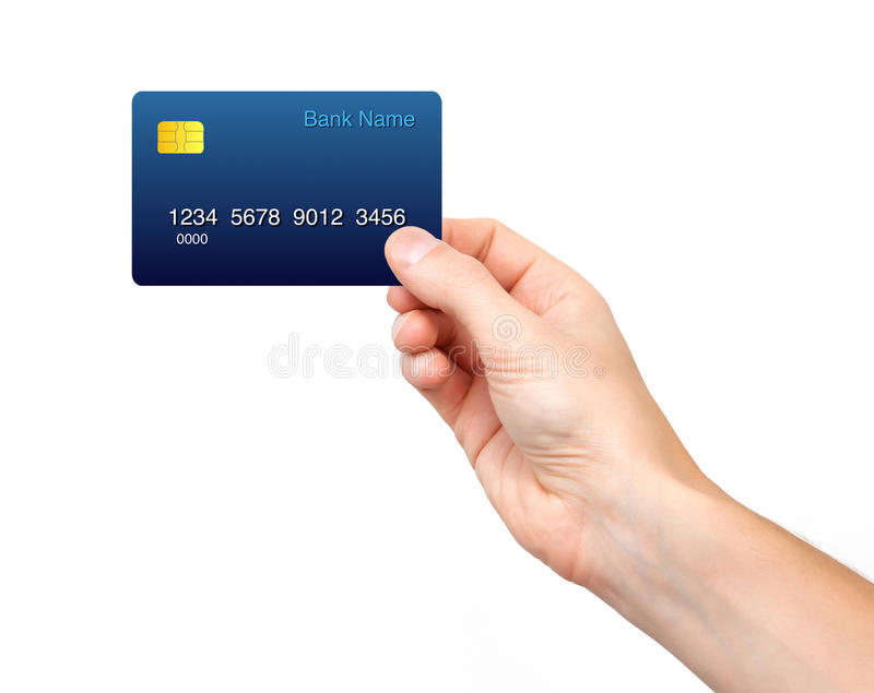 Isolated male hand holding a credit card royalty free stock photography